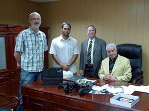 KAUST researcher Greg Wickham (left), Saad and DeFanti meet with Zahi Hawass, Egypt's Minister of State for Antiquities Affairs.