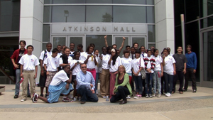 The participants in the 2011 Reach for Tomorrow Summer Program stand outside Calit2's headquarters in Atkinson Hall.