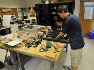 Electrical engineering student Andrew Permenter assembled a cluster of digital signs.