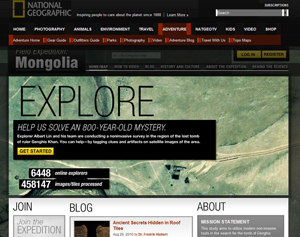 "Screengrab of NatGeo's ""Field Expedition: Mongolia"" site"