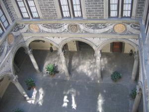 The Courtyard of the Palazzo Medici-Riccardi, which was constructed for the wealthy Medici family between 1445 and 1460.
