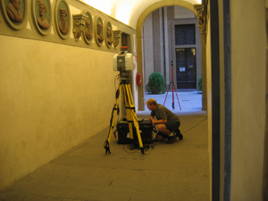 Michael Olsen uses a Leica Scanstation 2 laser scanner to capture geometric data from a small room in the Palazzo Medici, one of the Renaissance greatest landmarks.