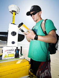 Graduate Student Pat Rentz with the I-Site laser scanner, which , shooting out a laser pulse 4,400 times per second and can measure cliffs from 500 meters away.