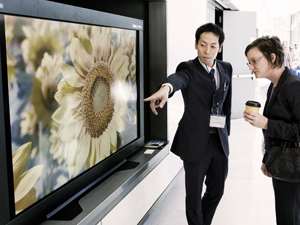 A CineGrid participant points out the detail in a 4K television display, which has approximately four times the resolution of the most widely-used HD television format,