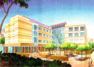 Architectual drawing of the Calit2 building at UCI