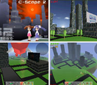 Still frames from interactive videogame developed by computer-science seniors at UCSD