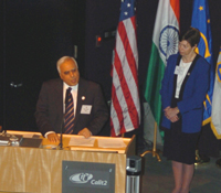 Minister Kapil Sibal makes opening comments as UCSD Chancellor Marye Anne Fox looks on.
