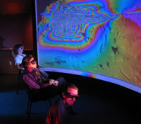 Scientists use the immersive visualization environment at