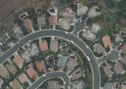 Aerial Photo Mosaic aftermath of fires, street level