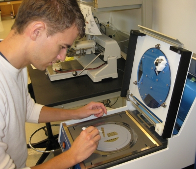 Michael Clark working with nanofabricated sample