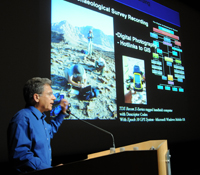 "Tom Levy speaks at an event titled  ""In Search of Solomon, Gabriel and Internet Archaeology"""