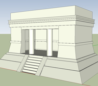 A Google SketchUp image of one of the buildings at Chichen Itza