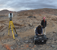 Connor Buitenhuys assists Tom Wypych  with LiDAR scanning at Khirbat en-Nahas, the largest Iron Age