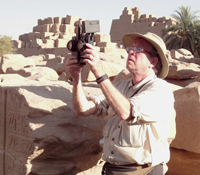 DeFanti with the CAVEcam at Karnak