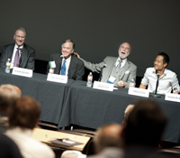 Irwin Jacobs, Tom DeFanti, Vint Cerf and Albert Yu-Min Lin