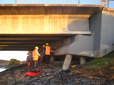 Engineers at damaged bridge, Christchurch, New Zealand