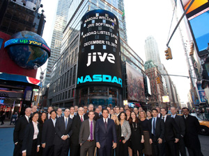 Employees of Jive stand in Times Square