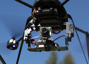 Quad Copter aerial photography platform in flight.