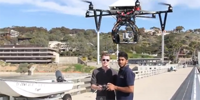 Field-testing the Quad Copter at Scripps Pier.