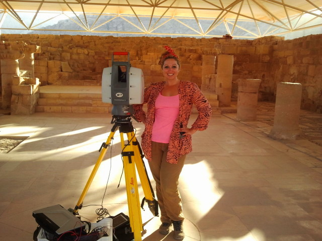 Ashley Richter uses a LiDAR scanner to capture digital data clouds at an archaeological site in Petra, Jordan.