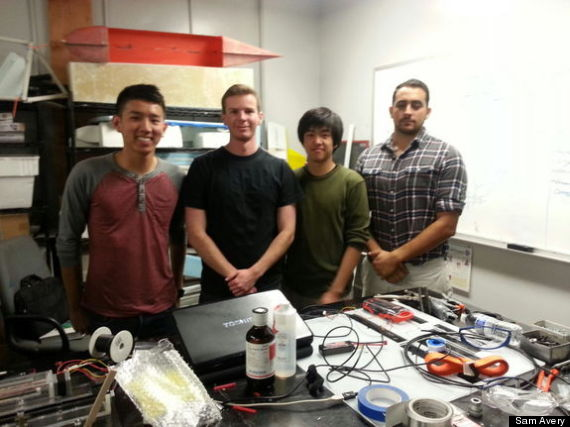The UCSD microgravity fire experiment team: Josh Sui, Sam Avery, Henry Lu and Seeman Farah