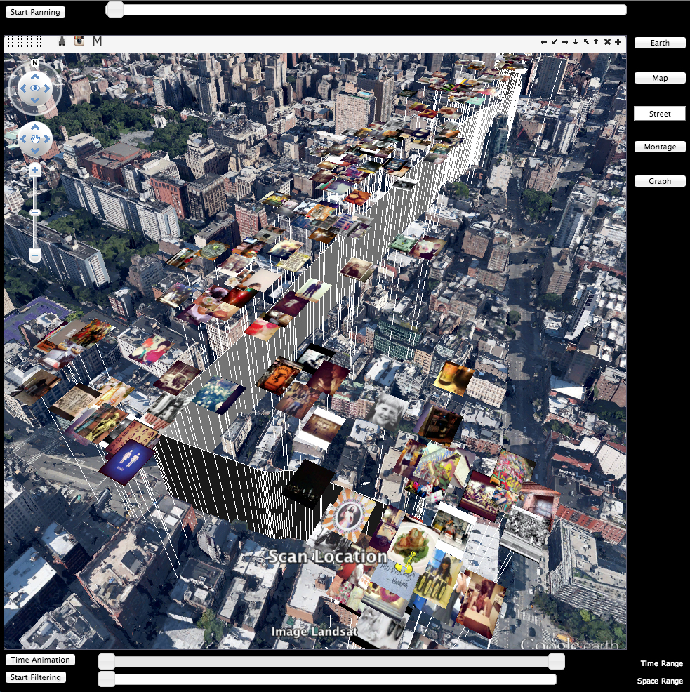 Screenshot of Geomedia Analytics Platform showing Google Earth view of New York City populated by images taken at various locations