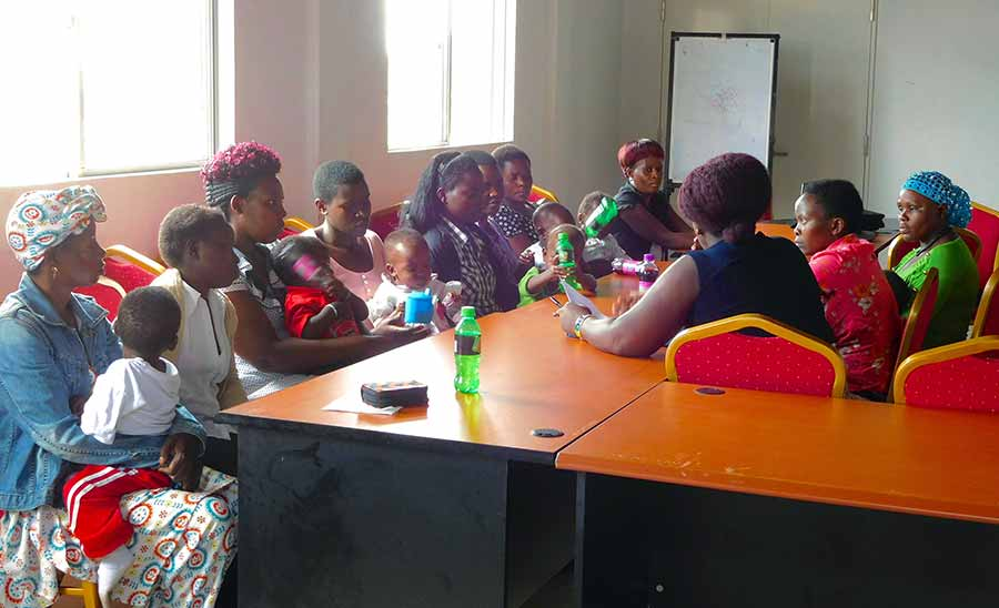 At the Regional Referral Hospital in Masaka, Uganda, a focus group of HIV-positive women meet to discuss barriers to accessing infant HIV services.