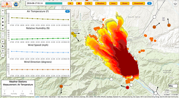 A screenshot of WIFIRE's Firemap resource tracking the Blue Cut Fire on August 17, 2016. Ilkay Altintas/SDSC