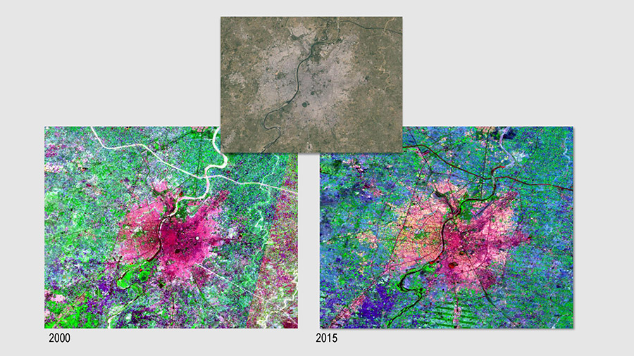 Different band combinations are used to visualize and map the boundaries of urban areas in Ahmedabad, India in (left) 2000 and (right) 2015. Here, the built-up area detection was done using satellite imagery from Landsat (top). Courtesy Big Pixel Initiative.