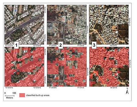 Classification of built-up areas, visualized in red, compared to raw satellite images in three regions in India. Satellite images from DigitalGlobe, Inc., courtesy Big Pixel Initiative. All rights reserved.