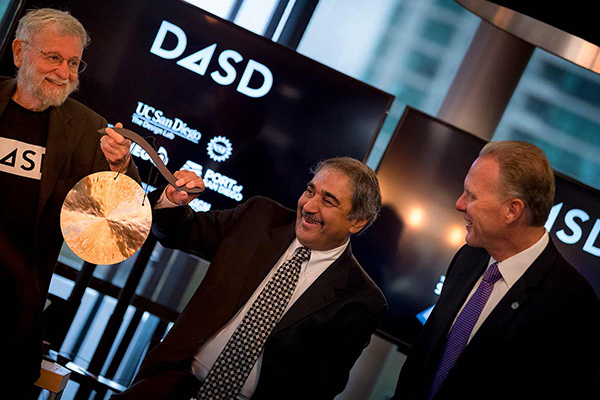 Starting with a bang (on a gong)! From left, Design Lab Director Don Norman, UC San Diego Chancellor