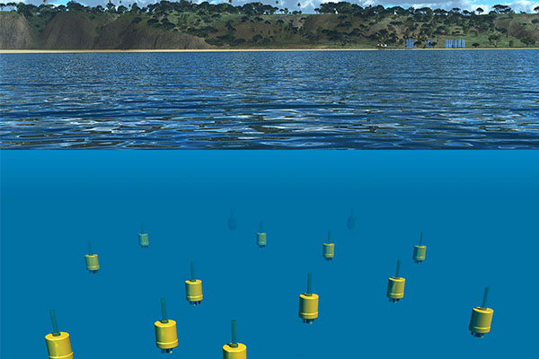 A graphic representation of the underwater explorers off the coast of Del Mar.