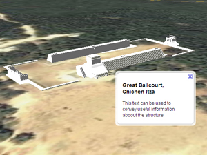 Google SketchUp/Google Earth mash-up of the Great Ballcourt at Chichen Itza