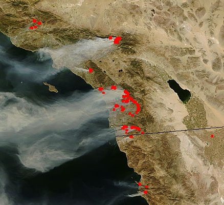NASA satellite image of San Diego wildfires