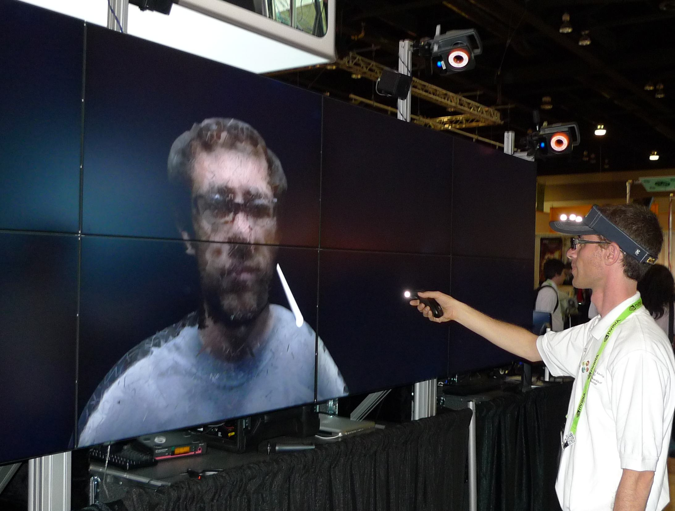 Todd Margolis interacts with CalVR software on the Vroom